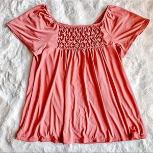 Maurice's Ruffle Sleeve Pink Blouse